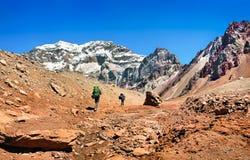 Wanderer auf ihrer Weise zu Aconcagua, wie im Hintergrund, Nationalpark Aconcaguas, Argentinien, Südamerika gesehen Lizenzfreie Stockfotografie