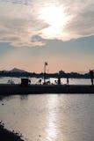 Wanderer bei Sonnenuntergang Lizenzfreies Stockfoto