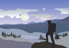 Wanderer in den Bergen stock abbildung