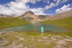 Wanderer, der eine alpine Ansicht genießt Stockfotografie