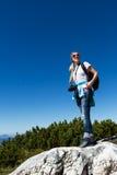 Wanderer in der Landschaft Stockfoto
