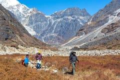 Wanderer, die auf Wiese in Gebirgstalmischungs-Ethnie Team gehen stockfotos
