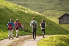 Wanderer, die in Berge gehen Lizenzfreies Stockfoto