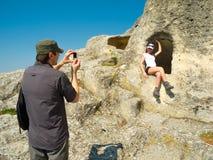 Wanderer, die Fotos machen Stockfotografie