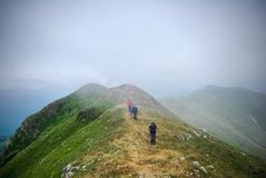 Wanderer in die Wolken Stockfoto