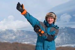 Wanderer in einem russischen Hut Stockfotos