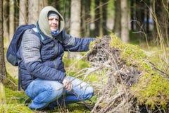 Wanderer am gefallenen Baum wurzelt im Wald Lizenzfreies Stockbild