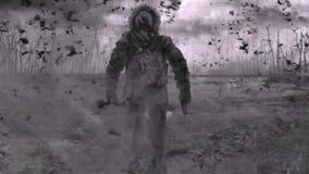 Wanderer geht zur Seite des Sonnenaufgangs Mann versucht, den Horizont zu erreichen lizenzfreie abbildung