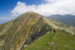 Wanderer glücklich in den Bergen stockbilder