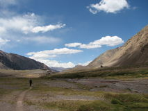 Wanderer im Berg Stockfoto