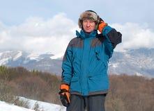 Wanderer im russischen Hut Stockbild