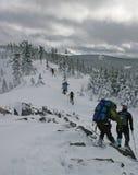 Wanderer im Schnee stockfoto
