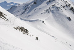 Wanderer im Schnee Lizenzfreie Stockbilder