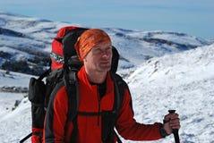 Wanderer im Winterwandern Stockfoto