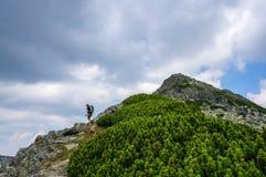 Wanderer mit dem Rucksack, der auf dem Berg auf einem touristischen Weg klettert Lizenzfreies Stockbild