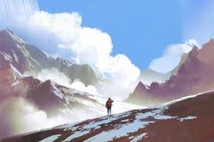 Wanderer mit dem Rucksack, der Berge betrachtet vektor abbildung