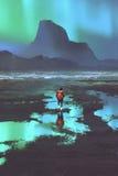 Wanderer mit dem Rucksack, der Berge und buntes Licht im Himmel betrachtet lizenzfreie abbildung