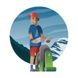 Wanderer mit dem Rucksack verloren im wilden Trekking, Wandern, kletternd Stockbild