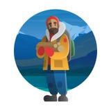 Wanderer mit hölzernen Klotz Trekking, wandernd, Klettern und reisen Stock Abbildung