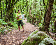 Wanderer mit Karte im Wald Stockbild