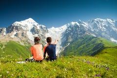 Wanderer nehmen einen Rest Lizenzfreie Stockbilder
