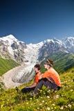 Wanderer nehmen einen Rest Lizenzfreies Stockfoto
