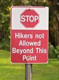 Wanderer nicht erlaubt Stockfoto