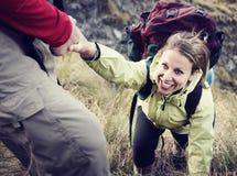 Wanderer-Stützübungs-extremes Sport-Konzept Stockfotografie