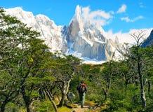 Wanderer-Trekking im Patagonia, Südamerika Stockbild