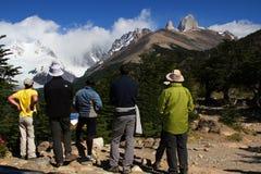 Wanderer- und Fitz Roy-Gipfel Stockfotos