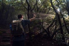 Wanderer und Strahlen der Sonne lizenzfreie stockfotos