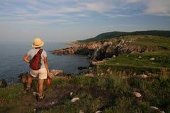 Wanderer am weißen Punkt Stockfoto