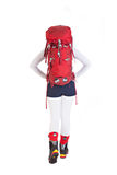Wandererfrau mit dem Rucksack lokalisiert auf weißem Hintergrund, gehendes a Stockfotos