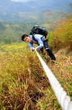 Wanderermann auf Ketten Stockbilder