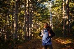Wanderermannwege in einem Kieferngelbherbst-Waldwanderer genießt Falllandschaft Tourist trägt Sportsonnenbrille Stockfotografie