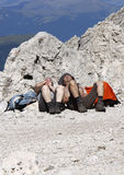 Wanderers. CIRCA JULY 2008 - DOLOMITES: exhausted wanderers relaxing at the Plattkofel in the Italian Dolomites, Alps stock images