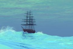 Wandering. A clipper ship lost on the high seas Stock Images