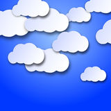 Wandering clouds. On a blue background with 3d effect Stock Image