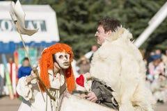 Wandering dolls of mister Pezho. SAINT PETERSBURG, RUSSIA, MAY 11, 2015 Stock Photos