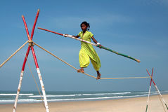 Wandering indian tightrope walker Royalty Free Stock Image