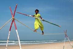 Wandering indian tightrope walker Royalty Free Stock Image