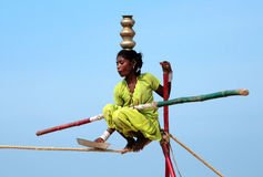 Wandering indian tightrope walker Royalty Free Stock Photo