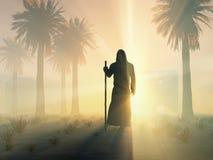 Wandering monk at sunrise. Wandering monk walking at sunrise Royalty Free Stock Image