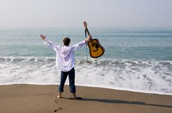 Wandering musician Stock Photo
