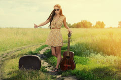 Wandering musician Royalty Free Stock Photo
