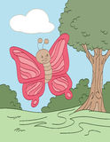 Wandering Pink Butterfly. Smiling pink butterfly wandering through a field Royalty Free Stock Image