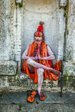 Wandering  Shaiva sadhu (holy man) in ancient Pashupatinath Temlep Royalty Free Stock Photo