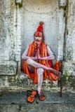 Wandering  Shaiva sadhu (holy man) in ancient Pashupatinath Temlep Royalty Free Stock Photo