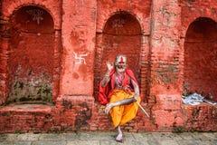 Wandering  Shaiva sadhu (holy man) in ancient Pashupatinath Temp Royalty Free Stock Image