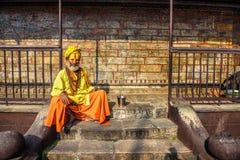 Wandering  Shaiva sadhu (holy man) in ancient Pashupatinath Temp Royalty Free Stock Images